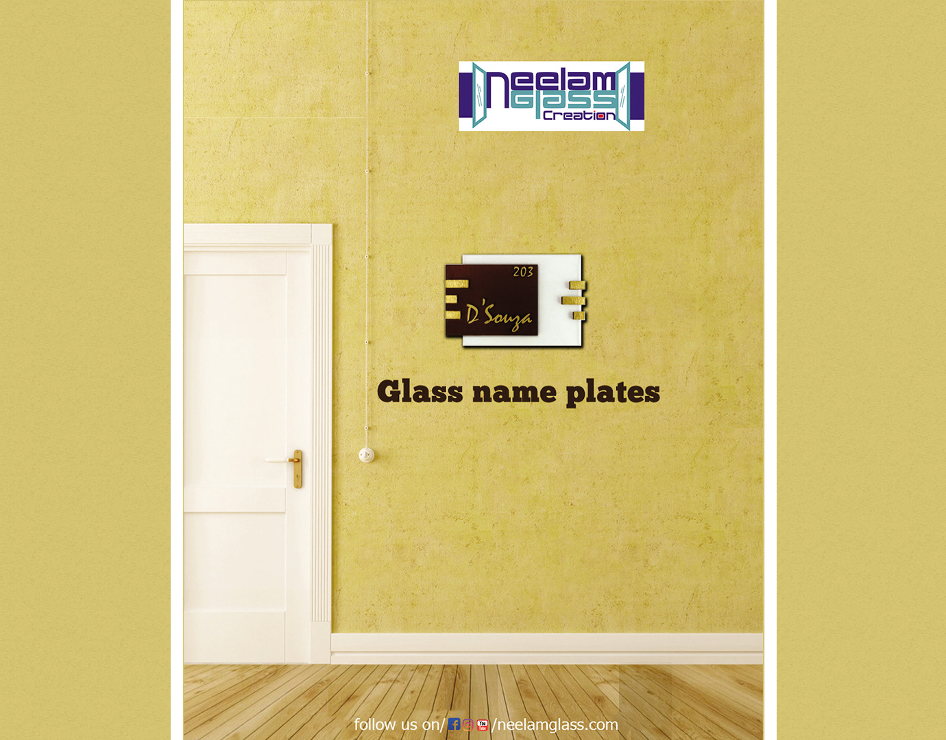 7.Glass namee plate