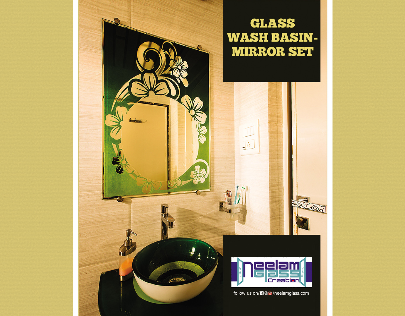 8.Glass wash basin- mirror set